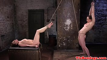 Restrained sub babes enjoying oral session