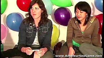 Hot group of amateurs playing a party game