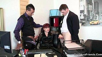 office woman satisfies two penetrate-wedges