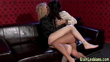 posh lesbos get messy with spanking