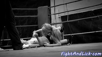 Bigtitted eurobabe wrestles lesbian beauty
