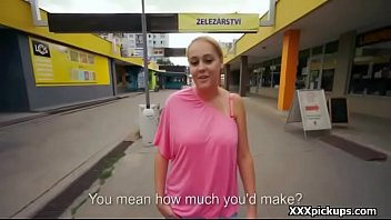 Public pickup babe seduces tourist for money and sex fuck 27