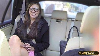 Charming geek woman loves pussy slamming inside the cab