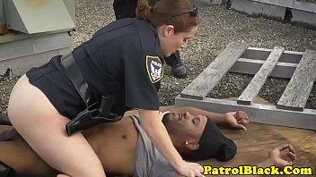 bossy gal officers raiding ebony thug.
