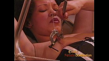 sizzling ebony-haired whore gets fisted rock hard by.