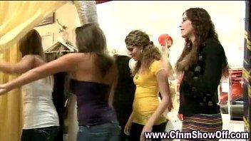 Sexy amateur CFNM girl sucks dudes hard cock