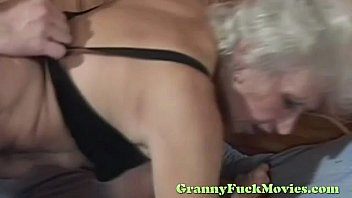 Blonde granny rough nailed