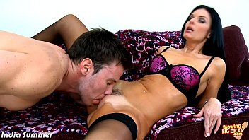 Brunette India Summer blowing a big dick