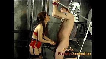 roped-up and ball-gagged fellow has his spear pleasured.