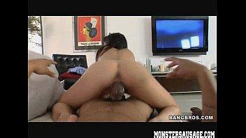 Hot brunette rides huge cock