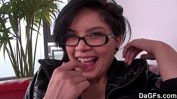 Cute brunette with glasses has a quickie audition