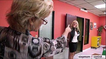 MILF Stepmom Alena Croft teaching a fuck lesson to her stepson and gf