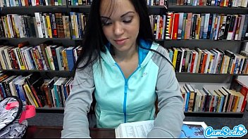 sexy teen latina gets naked and massages her pussy in public library