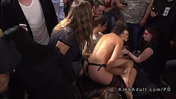 Public slave bangs dicks and strap on