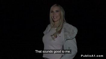Huge tits blonde fucked in car in public