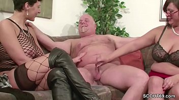 German MILF and Mature fuck with old man in Threesome