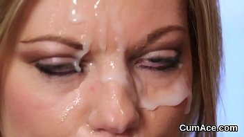 Sexy model gets sperm load on her face gulping all the jizm
