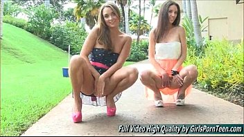 Mary and Aubrey I lesbians petite public tits flashing pussy