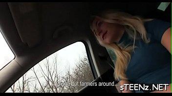 Sensational legal age teenager excites in a super superb car sex act