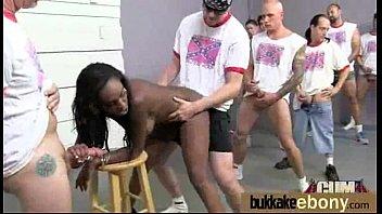 Ebony girlfriend takes huge loads of cum on her face 12