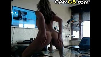 Hot MILF Rides Dildo on Table - camg8