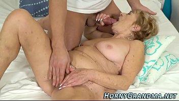 Hairy granny rides dick
