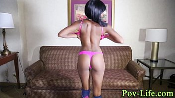 Ebony teen facialized pov