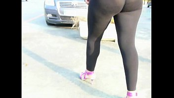 transparent spandex legging  street shoping Booty sexy milf