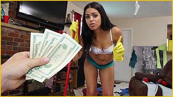 bangbros - sumptuous youthful latina maid cleans up.