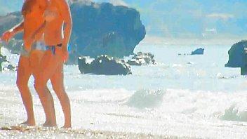 Beach Spy boobs close up