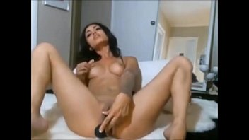 Hot brunette with sexy ass playing with dildo on cam - xhotpornx.com