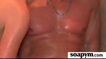 soapy rubdown and bathroom oral job.