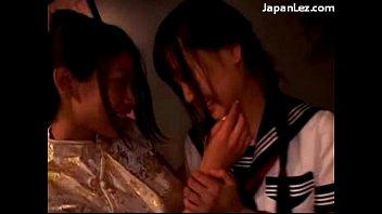 four japanese women smooching pawing disrobing