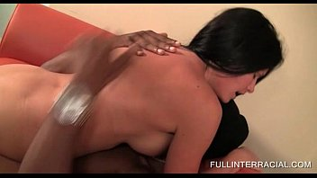 Hot tits brunette riding a hard black stiffy