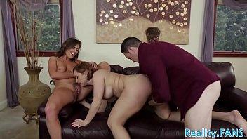 Busty MILFs sharing lucky guys dick
