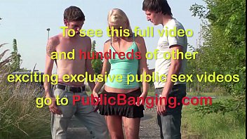 Extreme public teen sex threesome in the middle of a street with heavy traffic