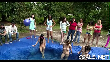 glamorous lezzies are having hot humid pool sex soiree