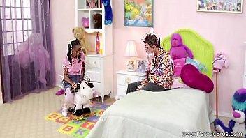 ponytail dark-hued nubile smashes milky bro
