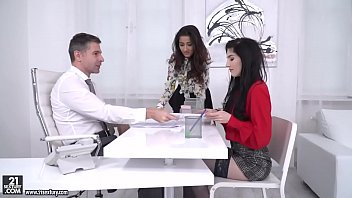 Darcia Lee and Mia Evans rides their boss'_ big dick