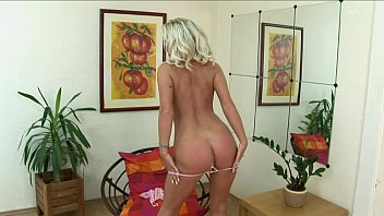brilliant blond thumbs her coochie and plays with wand