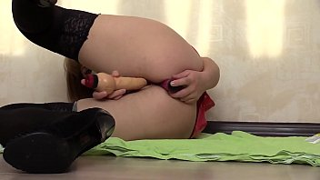 I in black stockings and on heels masturbate my pussy and ass