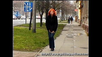 mature ginger-haired taking a urinate in a public park