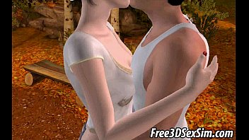 Hot 3D brunette gets fingered and licked outdoors