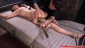 roped marionette ball-gagged and dildoed in.