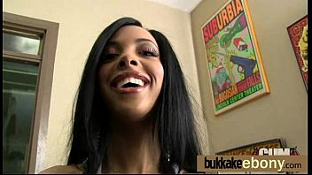 Ebony babe sucks and fucks several white dudes 27