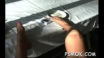 Aged whore smoking scene