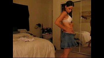 first-ever-timer stunner in jean mini-skirt peels off bare.