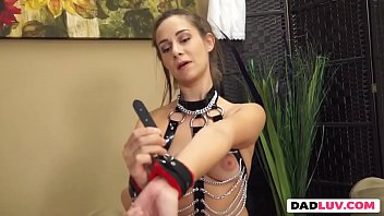 Long dildo stretching hairy cunt