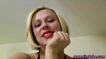 Stockinged blonde teen blowjob