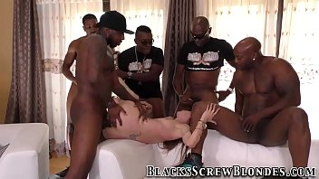 Babe rides black cocks